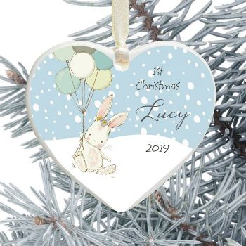 1st Christmas Ceramic Heart Tree Decoration - Cute Bunny and Balloons Design